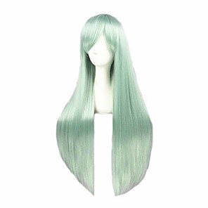 cheap Costume Wigs-Cosplay Wig Elizabeth Liones The Seven Deadly Sins Straight Cosplay Asymmetrical With Bangs Wig Very Long Green Synthetic Hair 32 inch Women's Anime Cosplay Best Quality Green