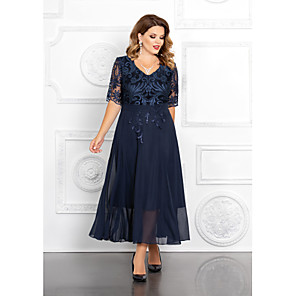 cheap Ballroom Dancewear-A-Line Mother of the Bride Dress Elegant Plus Size V Neck Ankle Length Chiffon Sequined Half Sleeve with Appliques 2020