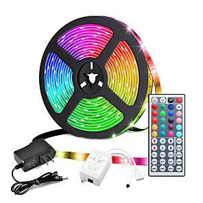 cheap USB Hubs & Switches-ZDM 5M Led LED Light Strips RGB Tiktok Lights Not-waterproof 24W 2835 8mm 44Key IR Controller Kit with Male DC connector Line