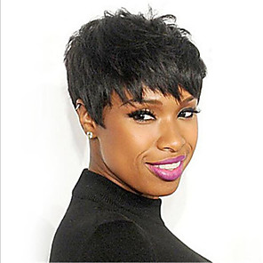 cheap Synthetic Trendy Wigs-Human Hair Blend Wig Natural Wave Short Hairstyles 2020 Berry Natural Wave Natural Black Capless Women's Natural Black #1B