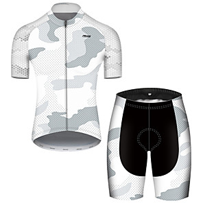 cheap Bike Covers-21Grams Men's Short Sleeve Cycling Jersey with Shorts Nylon Polyester Black / White Polka Dot Camo / Camouflage Bike Clothing Suit Breathable 3D Pad Quick Dry Ultraviolet Resistant Reflective Strips