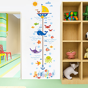 cheap Wall Stickers-Cartoon Animals Crab Shark Whale Height Measure Wall Sticker For Kids Rooms Growth Chart Nursery Room Decor Wall Art 2pcs