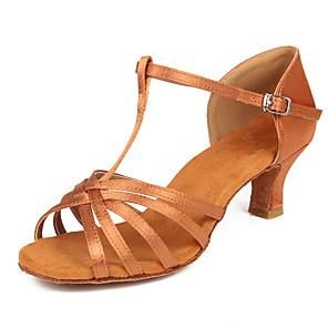 cheap Latin Shoes-Women's Latin Shoes / Salsa Shoes Satin Buckle Heel Buckle Cuban Heel Customizable Dance Shoes Black / Brown / Beige