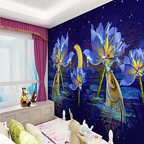 cheap Wallpaper-Art Deco Custom Self Adhesive Mural Wallpaper Fish Children Cartoon Style Suitable For Bedroom