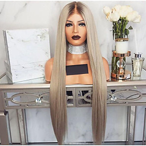 cheap Synthetic Trendy Wigs-Synthetic Wig Straight Asymmetrical Wig Blonde Long Blonde Synthetic Hair 27 inch Women's Waterfall Blonde