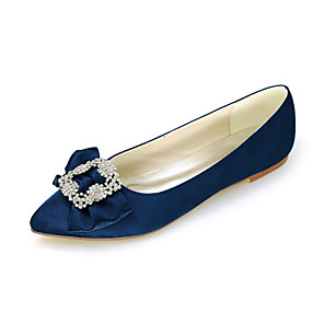 cheap Wedding Shoes-Women's Wedding Shoes Spring / Summer Flat Heel Pointed Toe Sweet Wedding Party & Evening Rhinestone / Bowknot Solid Colored Satin White / Black / Purple