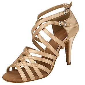 cheap Latin Shoes-Women's Dance Shoes Latin Shoes Heel Cuban Heel Almond / Performance