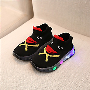 cheap Kids' Boots-Boys' / Girls' LED Shoes Knit Trainers / Athletic Shoes LED Shoes Little Kids(4-7ys) / Big Kids(7years +) Walking Shoes LED Black Summer / Fall / Color Block