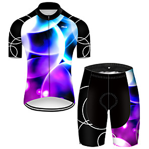 cheap Cycling Jersey & Shorts / Pants Sets-21Grams Men's Short Sleeve Cycling Jersey with Shorts Nylon Polyester Black / Blue 3D Gradient Bike Clothing Suit Breathable 3D Pad Quick Dry Ultraviolet Resistant Reflective Strips Sports 3D