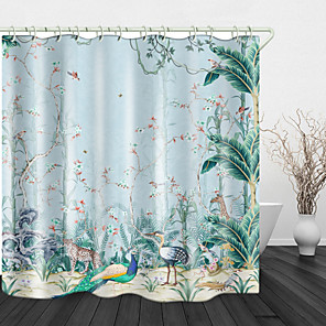 cheap Shower Curtains-Hand Painted Jungle Digital Print Waterproof Fabric Shower Curtain for Bathroom Home Decor Covered Bathtub Curtains Liner Includes with Hooks