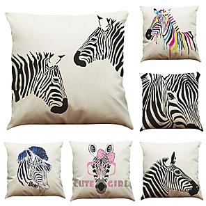 cheap Throw Pillow Covers-6 pcs Linen Pillow Cover Creative Watercolor Zebra Linen Pillow Case Car Pillow Cushion Sofa Pillow Pillow Office Nap Pillow