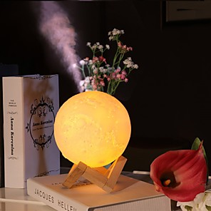 cheap Household Appliances-3D Moon Lamp USB Humidifier Ultrasonic Aroma Air Diffuser Night Light for Home