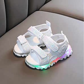 cheap Kids' Sandals-Girls' Sandals LED / Comfort PU LED Shoes Toddler(9m-4ys) / Little Kids(4-7ys) White / Black / Pink Summer