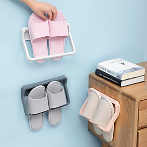 cheap Bathroom Gadgets-Bathroom Slippers Frame On the Wall From Stiletto Shoe Rack Shelf Toilet Receive Artifact Rack Shelf Hanging Drop Color Random