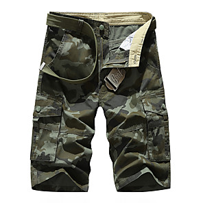 "cheap Hiking Trousers & Shorts-Men's Hiking Shorts Hiking Cargo Shorts Camo Summer Outdoor 10"" Standard Fit Breathable Quick Dry Front Zipper Sweat-wicking Cotton Shorts Bottoms Army Green Khaki Hunting Fishing Climbing 29 30 31"