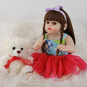 cheap Reborn Doll-FeelWind 18 inch Reborn Doll Baby & Toddler Toy Reborn Toddler Doll Baby Girl Gift Cute Lovely Parent-Child Interaction Tipped and Sealed Nails Full Body Silicone LV064 with Clothes and Accessories