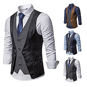 cheap Videogame Cosplay Accessories-Gentleman Kingsman Vintage Masquerade Vest Waistcoat Men's Costume Black / Navy Blue / Gray Vintage Cosplay Event / Party Sleeveless