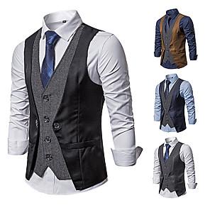 cheap Historical & Vintage Costumes-Gentleman Kingsman Vintage Masquerade Vest Waistcoat Men's Costume Black / Navy Blue / Gray Vintage Cosplay Event / Party Sleeveless