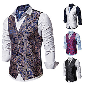 cheap Videogame Cosplay Accessories-Plague Doctor Vintage Gothic Steampunk Masquerade Vest Waistcoat Men's Jacquard Costume Golden / White / Black Vintage Cosplay Event / Party Sleeveless