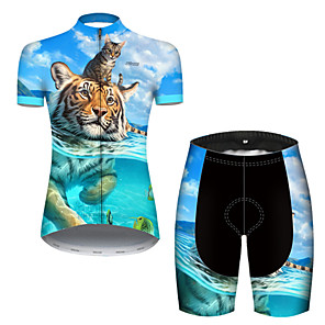 cheap Cycling Jerseys-21Grams Women's Short Sleeve Cycling Jersey with Shorts Nylon Polyester Blue Animal Tiger Bike Clothing Suit Breathable 3D Pad Quick Dry Ultraviolet Resistant Reflective Strips Sports Animal Mountain