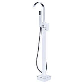 cheap Doorbell Systems-Bathtub Faucet - Contemporary Chrome Free Standing Ceramic Valve Bath Shower Mixer Taps