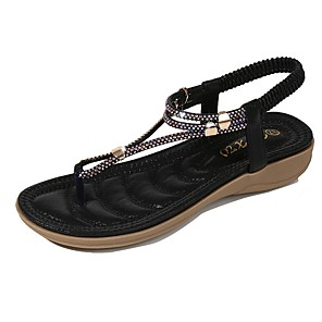 cheap Women's Sandals-Women's Sandals Summer Flat Heel Open Toe Daily PU Black / Champagne / Gold