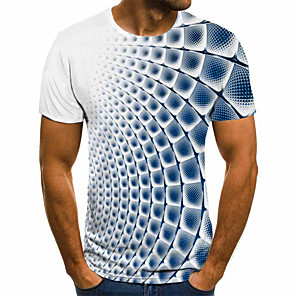 cheap Microphones-Men's T-shirt 3D Graphic Tops Basic Round Neck Blue Purple Gray / Short Sleeve