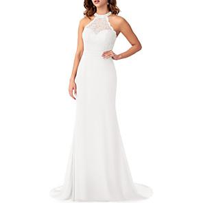 cheap LED Strip Lights-Mermaid / Trumpet Halter Neck Sweep / Brush Train Chiffon / Lace Bridesmaid Dress with Ruffles