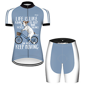 cheap Cycling Jersey & Shorts / Pants Sets-21Grams Women's Short Sleeve Cycling Jersey with Shorts Nylon Polyester Blue / White Dog Animal Funny Bike Clothing Suit Breathable 3D Pad Quick Dry Ultraviolet Resistant Reflective Strips Sports Dog