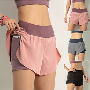 cheap Exercise, Fitness & Yoga Clothing-Women's High Waist Running Shorts 2 in 1 Liner Shorts Bottoms Tummy Control Breathable Quick Dry Black Pink Dusty Blue Spandex Yoga Fitness Gym Workout Sports Activewear High Elasticity