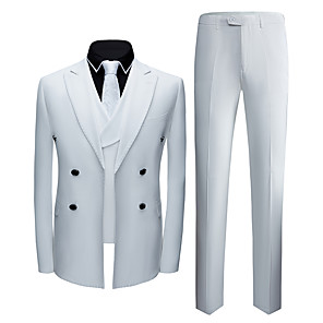 cheap Custom Suits-Tuxedos Tailored Fit Notch Double Breasted Six-buttons Polyster / Polyester Textured / British / Fashion