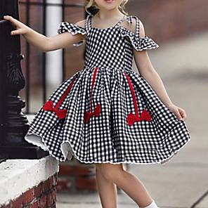 Недорогие Распродажа-малыш Девочки Классический Шахматка С короткими рукавами Платье Черный