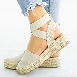 cheap Wedding Shoes-Women's Sandals Summer Flat Heel Round Toe Casual Home Solid Colored Elastic Fabric Black / Beige