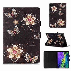 cheap iPad case-Case For Apple iPad Pro 11''(2020) / iPad 2019 10.2 / Ipad air3 10.5' 2019 Wallet / Card Holder / with Stand Golden Flower Butterfly PU Leather / TPU for iPad Air / iPad 4/3/2 / iPad (2018)