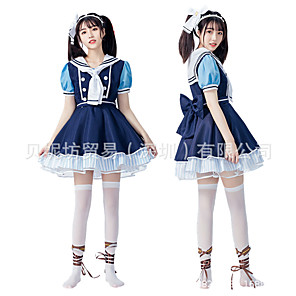 cheap Anime Costumes-Inspired by Love Live Anime Cosplay Costumes Japanese Cosplay Suits Dress Bow Headwear For Women's