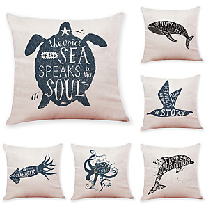 cheap Throw Pillow Covers-6 Pcs Linen Pillow Cover Marine Animal Linen Pillow Cases Car Pillow Cushions Sofa Pillows Office Nap Pillows