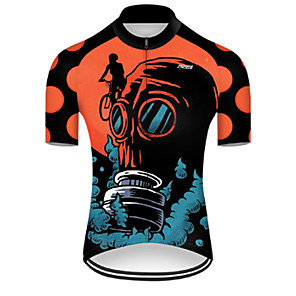 cheap Cycling Jerseys-21Grams Men's Short Sleeve Cycling Jersey Nylon Polyester Black / Orange 3D Gradient Skull Bike Jersey Top Mountain Bike MTB Road Bike Cycling Breathable Quick Dry Ultraviolet Resistant Sports