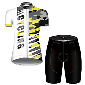 cheap Cycling Jerseys-21Grams Women's Short Sleeve Cycling Jersey with Shorts Nylon Polyester Camouflage Patchwork Camo / Camouflage Bike Clothing Suit Breathable 3D Pad Quick Dry Ultraviolet Resistant Reflective Strips