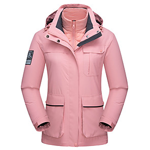 cheap Women's Hiking Jackets-Wolfcavalry® Women's Hiking Down Jacket Hiking Jacket Autumn / Fall Winter Spring Outdoor Solid Color Waterproof Windproof Warm Breathable Top Full Length Hidden Zipper Hunting Fishing Climbing White