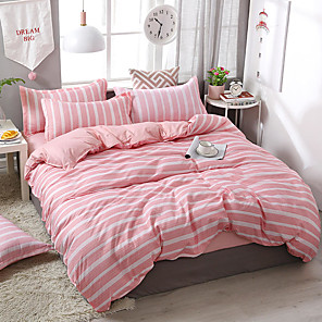 cheap Duvet Cover Sets-Duvet Cover Sets 4 Piece Polyester / Viscose Lines / Waves Pink Printed Simple