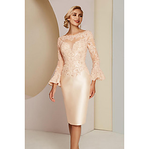 cheap Wedding Wraps-Sheath / Column Mother of the Bride Dress Elegant Vintage Plus Size Jewel Neck Knee Length Lace Satin Long Sleeve with Lace 2020 Mother of the groom dresses