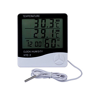 cheap Testers & Detectors-LCD Electronic Digital Temperature Humidity Meter Indoor Outdoor Thermometer Hygrometer Weather Station Clock HTC-2