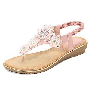 cheap Women's Sandals-Women's Sandals Summer Flat Heel Open Toe Daily PU White / Black / Yellow