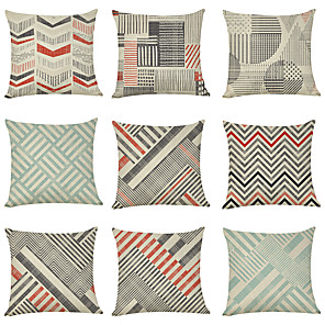 cheap Throw Pillow Covers-9 pcs Linen Pillow Cover, Geometric Casual Modern Square Traditional Classic