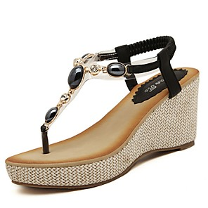 cheap Women's Sandals-Women's Sandals Summer Wedge Heel Open Toe Daily PU Black / Beige