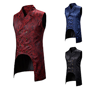 cheap Historical & Vintage Costumes-Plague Doctor Vintage Gothic Steampunk Masquerade Vest Waistcoat Men's Jacquard Costume Black / Red / Navy Blue Vintage Cosplay Event / Party Sleeveless