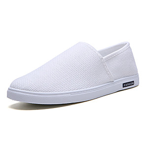 cheap Men's Slip-ons & Loafers-Men's Spring / Summer Classic / Casual Daily Outdoor Loafers & Slip-Ons Linen Breathable Non-slipping Wear Proof White / Black / Beige
