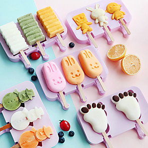 cheap Ice Cube Tray-Popsicle Mold Silicone Ice Cream Mold Popsicle Molds DIY Homemade Cartoon Ice Cream Popsicle Ice Pop Maker Mould Reusable Easy Release