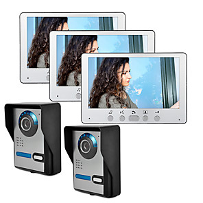 cheap Video Door Phone Systems-Wired 7 Inch Video Doorbell intercom Two To Three Video Doorphone Unlock with IR Night Vision Waterproof