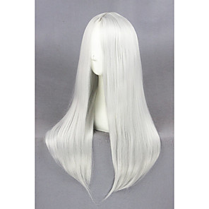 cheap Synthetic Trendy Wigs-Cosplay Wig Cosplay Cosplay Straight Cosplay Halloween Middle Part Wig Long Silver Synthetic Hair 23 inch Women's Anime Cosplay Soft Silver